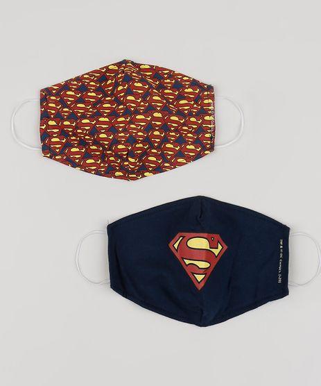 Kit-de-2-Mascaras-de-Tecido-Reutilizavel-para-Protecao-Individual-Super-Homem-Estampadas-Azul-Marinho-9954992-Azul_Marinho_1
