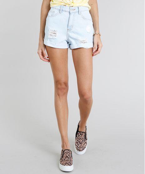 Short-Jeans-Feminino-Mom-Cintura-Alta-Destroyed-Azul-Claro-9274695-Azul_Claro_1
