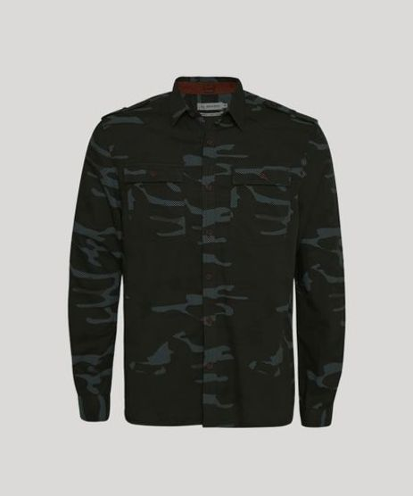 Camisa-de-Sarja-Masculina-Tradicional-Estampada-Camuflada-com-Bolsos-Manga-Longa-Verde-Militar-9809543-Verde_Militar_1