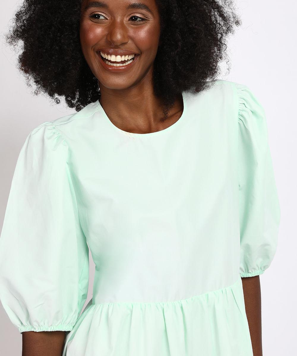 Vestido Feminino Mindset Curto com Recorte Manga Bufante Verde Água