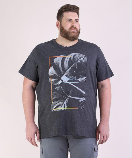 Camiseta-Masculina-Plus-Size-Folhagem--Tropical-Paradise--Manga-Curta-Gola-Careca-Cinza-Mescla-Escuro-9952250-Cinza_Mescla_Escuro_1