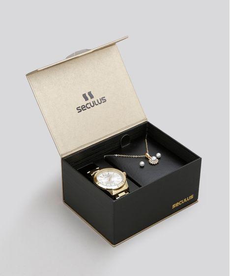 1f8b679ec28 Kit de Relógio Analógico Seculus Feminino + Colar + Brinco ...