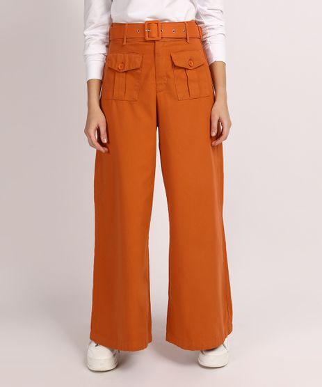 Calca-de-Sarja-Feminina-Mindset-Pantalona-Cintura-Super-Alta-com-Bolsos-e-Cinto-Laranja-9949388-Laranja_1