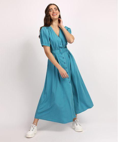 Vestido-Feminino-Mindset-Midi-com-Botoes-e-Cinto-Manga-Bufante-Azul-9950115-Azul_1