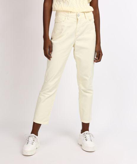 Calca-Jeans-Feminina-Mindset-Reta-Cintura-Media-com-Bolsos-Amarelo-Claro-9955886-Amarelo_Claro_1