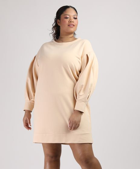 Vestido-de-Moletom-Feminino-Plus-Size-Mindset-Curto-Manga-Bufante-Amarelo-9953549-Amarelo_1