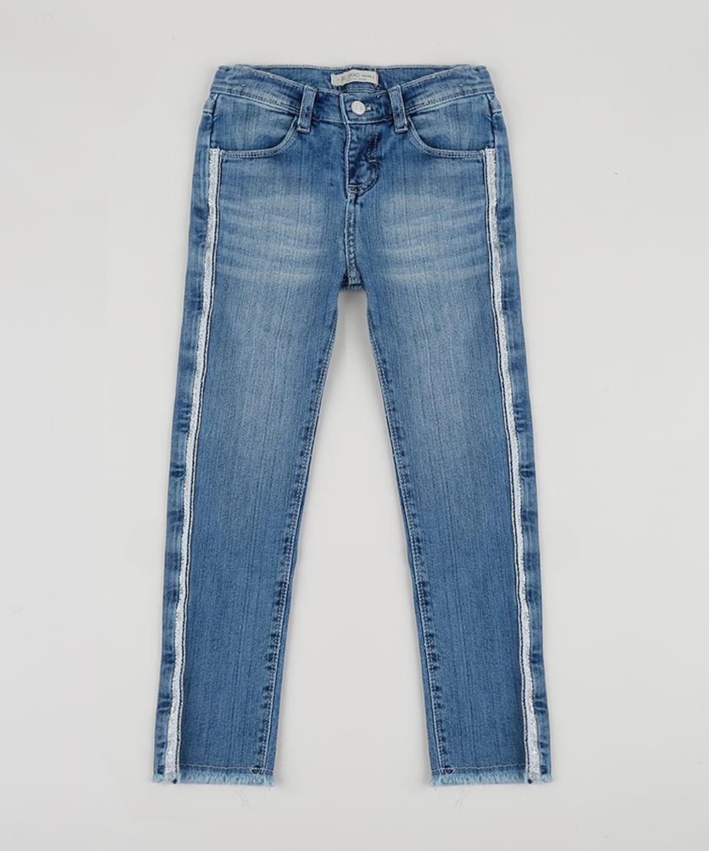 Calça Jeans Infantil Reta com Glitter e Bolsos Azul Médio