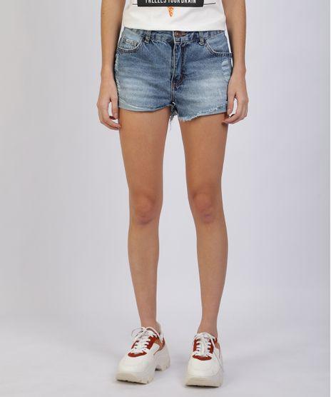 Short-Jeans-Feminino-Destroyed-Cintura-Alta-com-Bolsos-Azul-Medio-9944946-Azul_Medio_1