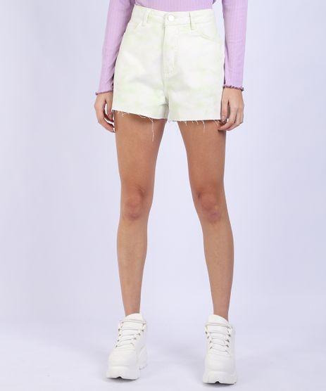 Short-de-Sarja-Feminino-Vintage-Estampado-Tie-Dye-Cintura-Super-Alta-Verde-Claro-9955849-Verde_Claro_1