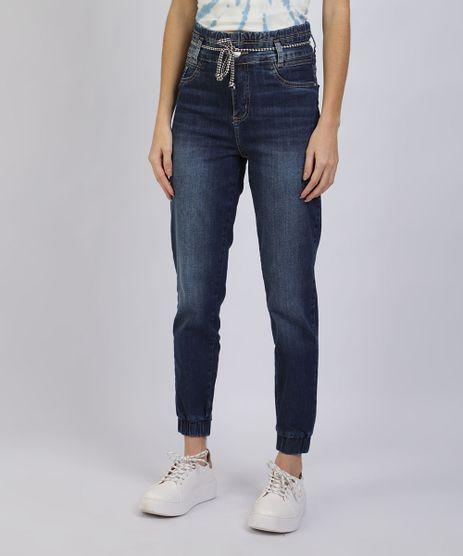 Calca-Jeans-Feminina-Sawary-Clochard-Cintura-Super-Alta-com-Cinto-Cadarco-Azul-Escuro-9945284-Azul_Escuro_1