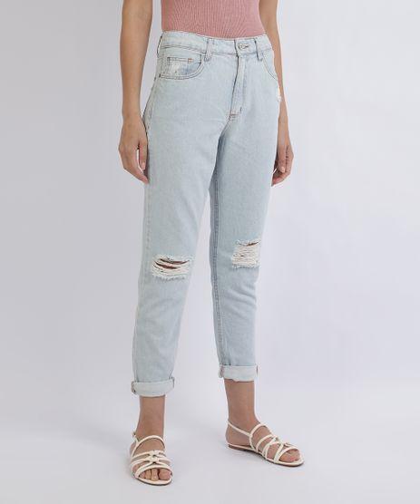 Calca-Jeans-Feminina-Mom-Cintura-Alta-Destroyed-Azul-Claro-9928377-Azul_Claro_1