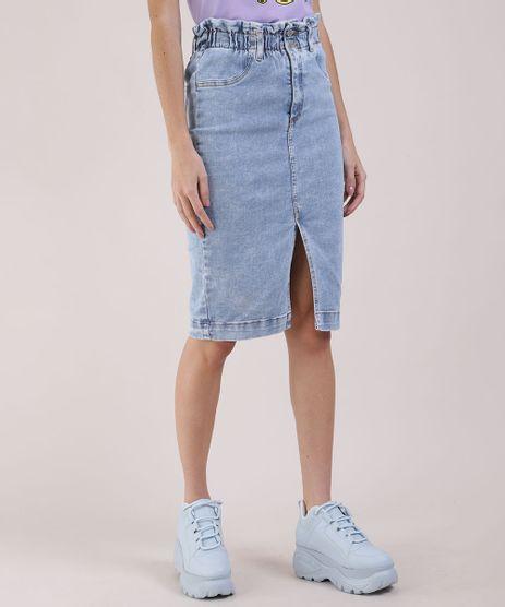 Saia-Jeans-Feminina-Lapis-com-Fenda-Azul-Claro-9944877-Azul_Claro_1