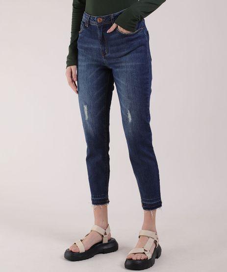 Calca-Jeans-Feminina-Cropped-Cintura-Media-com-Puidos-Azul-Escuro-9941910-Azul_Escuro_1