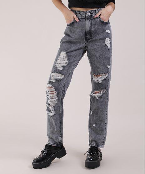 Calca-Jeans-Feminina-Mom-Destroyed-Cintura-Super-Alta-Preta-9951583-Preto_1