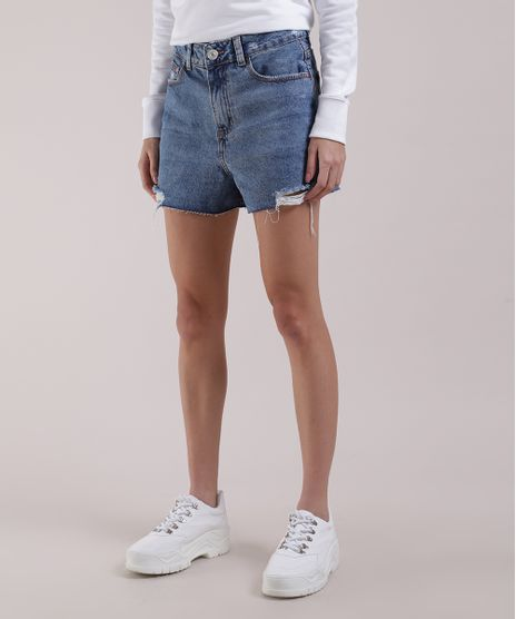 Short-Jeans-Feminino-Pride-Cintura-Super-Alta-Destroyed-com-Bordado-Azul-Medio-9953342-Azul_Medio_1