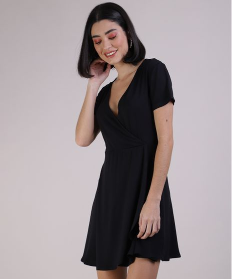 Vestido-Feminino-Curto-Transpassado-Manga-Curta-Preto-9941714-Preto_1