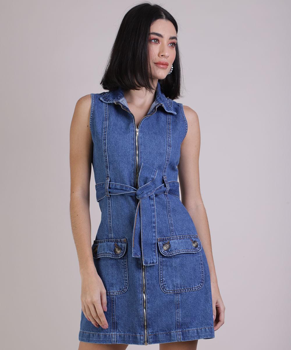 Vestido Jeans Feminino Curto com Bolsos e Faixa Azul Médio