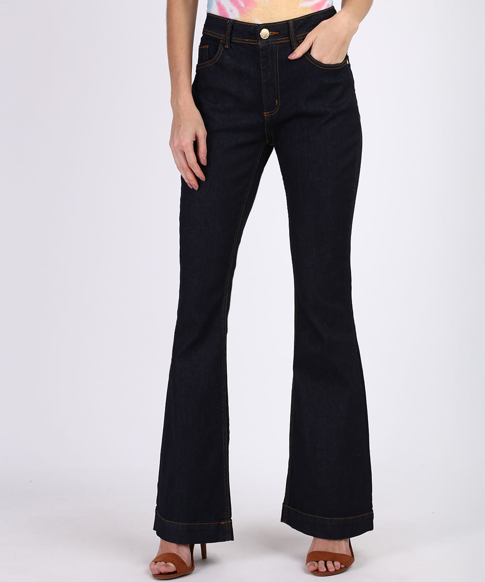 Calça Jeans Feminina Flare Cintura Alta com Bolsos Azul Escuro