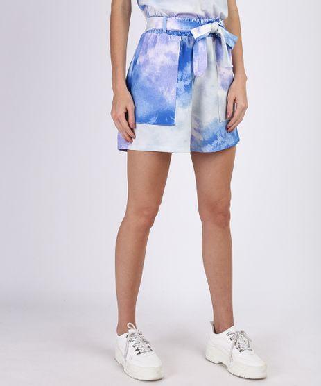 Short-de-Moletom-Feminino-Estampado-Tie-Dye-com-Faixa-para-Amarrar-Azul-9952533-Azul_1