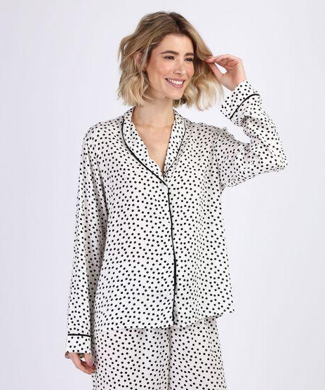 Camisa-de-Pijama-Feminina-Estampada-de-Poa-com-Vivo-Contrastante-Manga-Longa-Off-White-9954382-Off_White_1