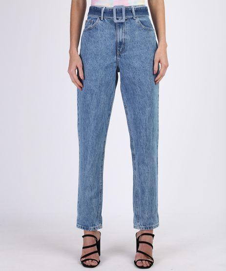 Calca-Jeans-Feminina-Mom-Cintura-Alta-com-Cinto-e-Bolsos-Azul-Claro-9954908-Azul_Claro_1