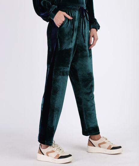 Calca-de-Veludo-Feminina-Jogger-Cintura-Alta-com-Bolsos-Verde-9956024-Verde_1