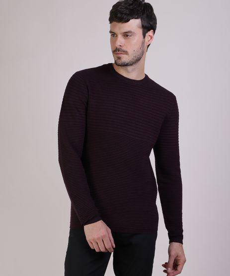Sueter-Masculino-Slim-em-Trico-Texturizado-Gola-Careca-Vinho-9821910-Vinho_1