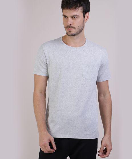 Camiseta-Masculina-Basica-com-Bolso-Manga-Curta-Gola-Careca-Cinza-Mescla-9941894-Cinza_Mescla_1