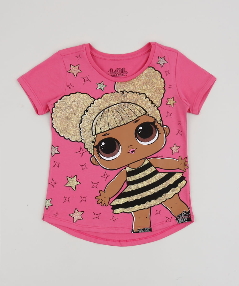 Blusa Infantil LOL Surprise Queen Bee Manga Curta Pink