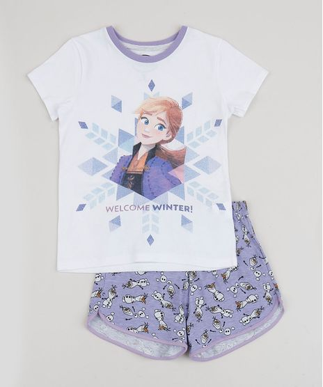 Pijama-Infantil-Frozen-Anna-e-Olaf-Manga-Curta-Off-White-9942763-Off_White_1