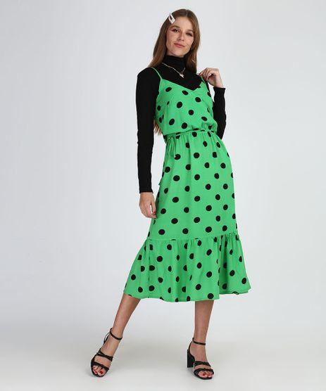 Vestido-Feminino-Midi-Estampado-de-Poa-com-Babados-Alca-Fina-Verde-9955712-Verde_1