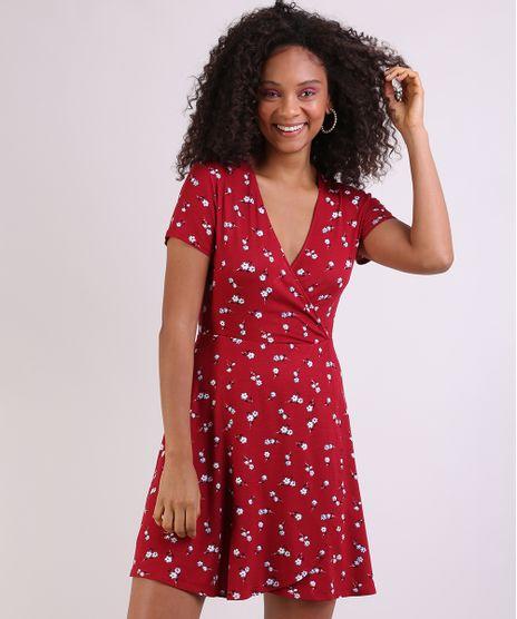 Vestido-Feminino-Curto-Transpassado-Estampado-Floral-Manga-Curta-Vermelho-9941711-Vermelho_1