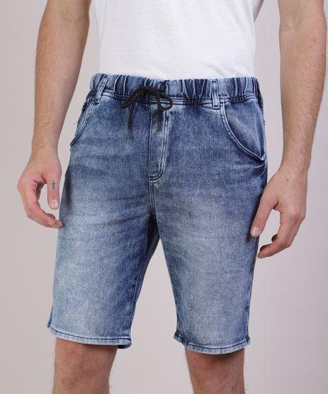 Bermuda-Jeans-Masculina-em-Moletom-Relaxed-com-Bolsos-Azul-9952810-Azul_1
