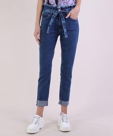 Calca-Jeans-Feminina-Skinny-Clochard-Cintura-Super-Alta-com-Faixa-Para-Amarracao-Azul-Escuro-9950643-Azul_Escuro_1