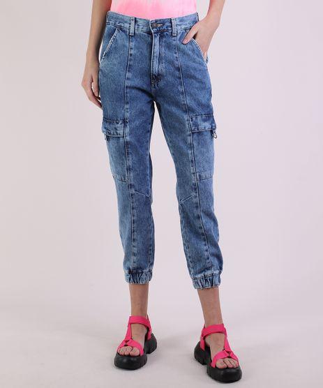 Calca-Jeans-Feminina-Jogger-Cargo-Cintura-Alta-Azul-Medio-9950644-Azul_1