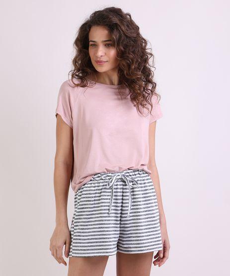 Pijama-Feminino-com-Listras-Manga-Curta-Rosa-9953276-Rosa_1