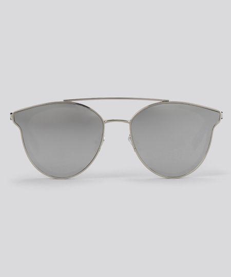 Óculos de Sol Redondo Espelhado Feminino Oneself Prateado - ceacollections f95edaa90b