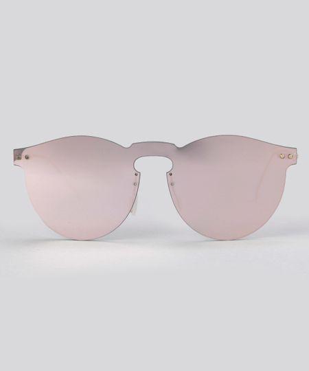 Óculos de Sol Redondo Espelhado Feminino Oneself Dourado - ceacollections e08783f98a