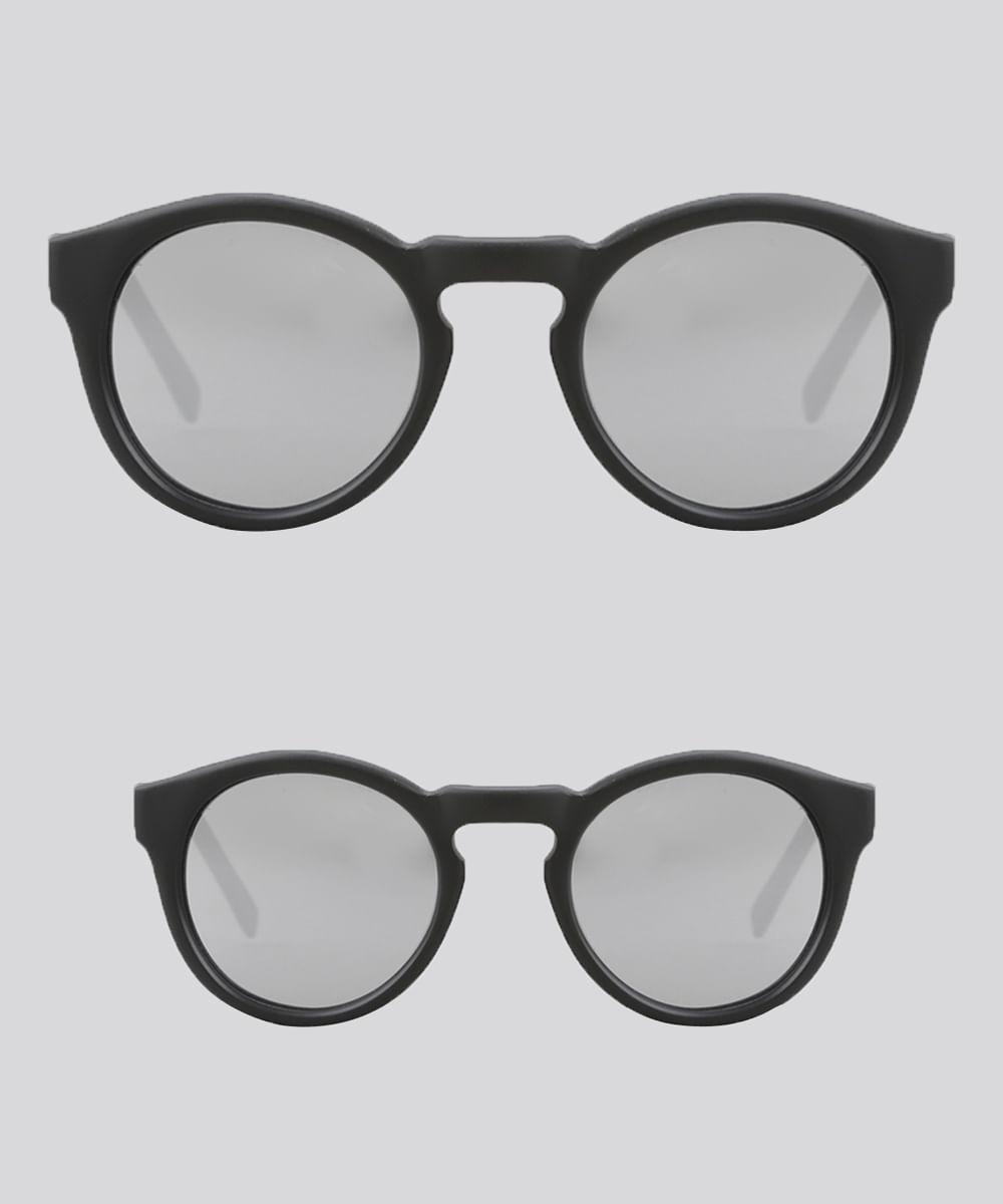 Kit de Óculos de Sol Redondo Espelhado Tal Mãe Tal Filha Oneself Preto -  Único caacca7533