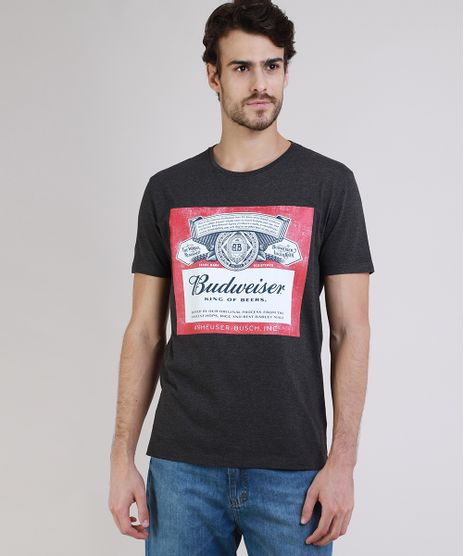 Camiseta-Masculina-Budweiser-Manga-Curta-Gola-Careca-Cinza-Mescla-Escuro-9734784-Cinza_Mescla_Escuro_1