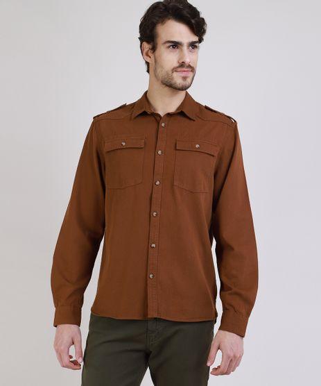 Camisa-de-Sarja-Masculina-Tradicional-com-Bolsos-Manga-Longa-Marrom-9809556-Marrom_1