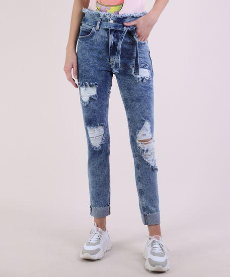 Calca-Jeans-Feminina-Skinny-Clochard-Cintura-Super-Alta-Destroyed-com-Faixa-para-Amarracao-Azul-Medio-9950642-Azul_Medio_1