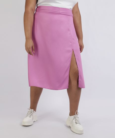 Saia-Feminina-Plus-Size-Midi-com-Fenda-Rosa-9957743-Rosa_1