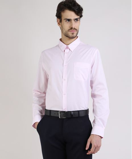 Camisa-Social-Masculina-Comfort-com-Bolso-Manga-Longa-Rosa-7591834-Rosa_1