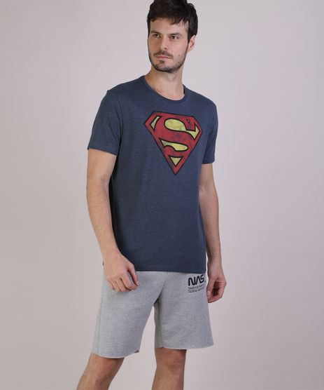 Camiseta-Masculina-Super-Homem-Manga-Curta-Gola-Careca-Cinza-Mescla-Escuro-9719810-Cinza_Mescla_Escuro_1