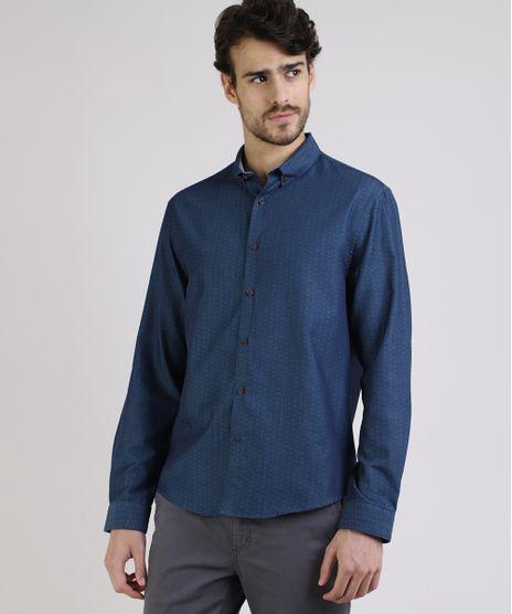 Camisa-Masculina-Comfort-Maquinetada-Manga-Longa-Azul-9809565-Azul_Jeans_1