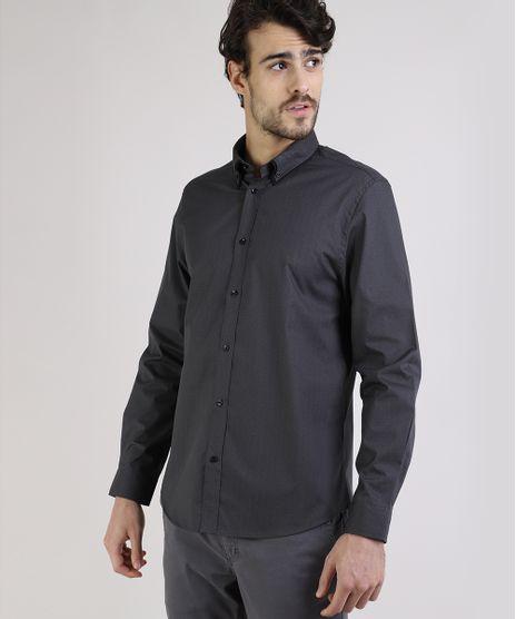 Camisa-Masculina-Comfort-Estampada-Mini-Print-Resistente-a-Agua-Manga-Longa-Chumbo-9813624-Chumbo_1