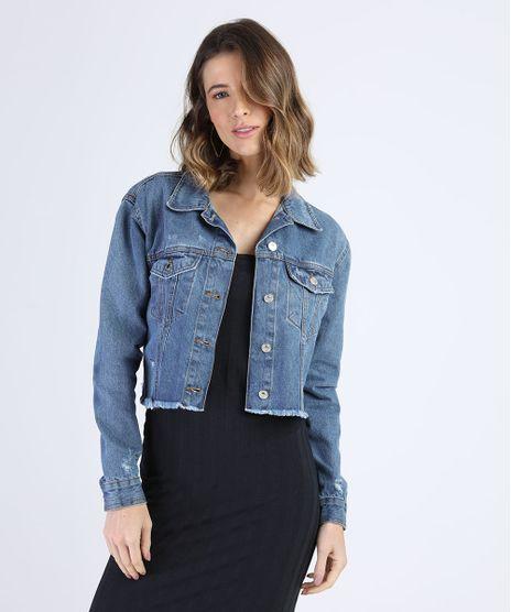 Jaqueta-Jeans-Feminina-Cropped-Com-recortes-e-Bolsos-Barra-Desfiada-Azul-Medio-9949590-Azul_Medio_1
