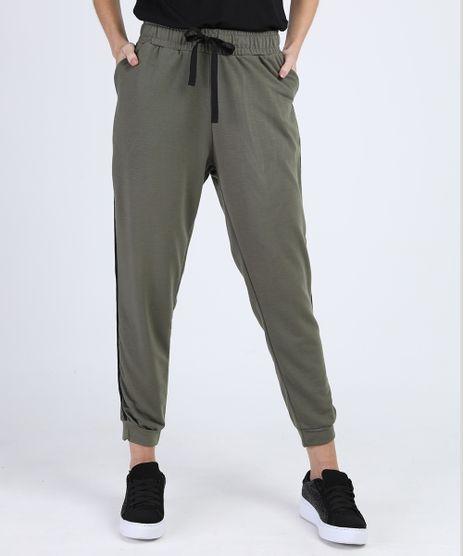 Calca-de-Moletom-Feminina-Jogger-Cintura-Media-com-Friso-Lateral-Verde-Militar-9947978-Verde_Militar_1