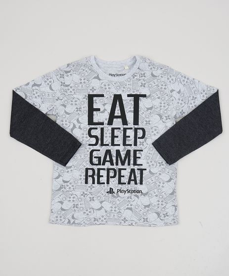 Camiseta-Infantil--Playstation--Manga-Longa-Cinza-Mescla-Claro-9942953-Cinza_Mescla_Claro_1